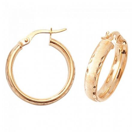 Just Gold Earrings -9Ct Dia Cut Satin Earrings, ER881
